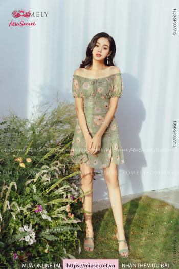 Váy Bèo Chun Vai Hoa Rêu