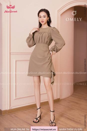 Váy Liền Nâu Be Nhún Ngực
