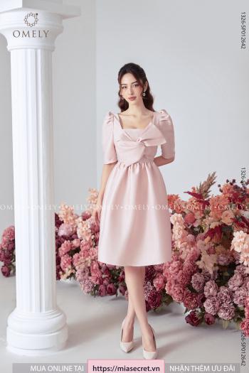 Váy Liền Tay Lỡ Nơ Ngực Hồng