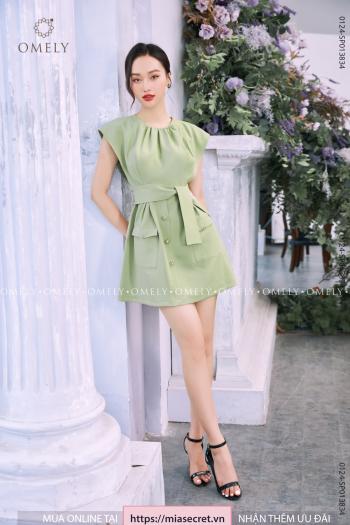 Váy Liền Xanh Cốm Phối Túi
