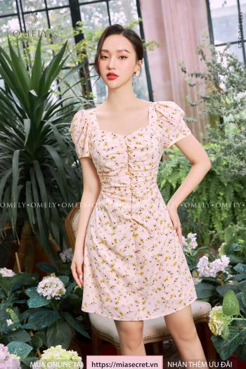 Váy Liền Dúm Thân Hoa Kem