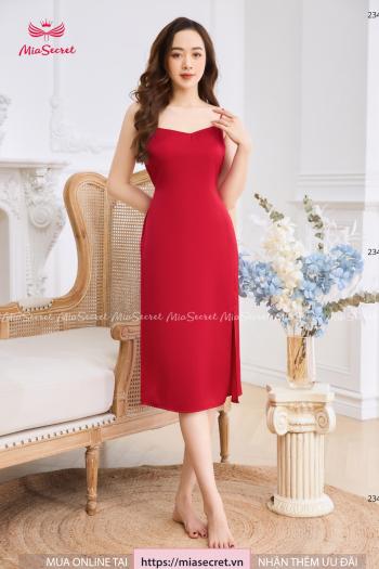 Váy Hai Dây Đỏ Đô