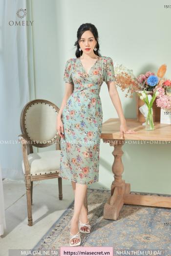 Váy Liền Xoắn Eo Hoa Màu Sắc