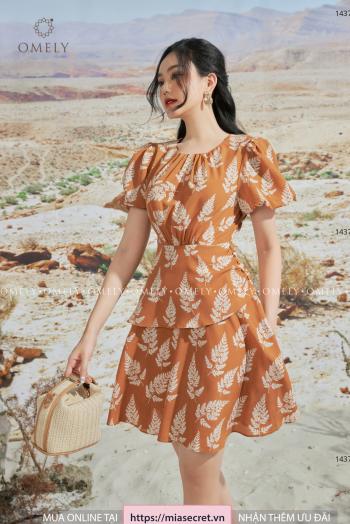 Váy Liền Dúm Cổ Lá Nâu