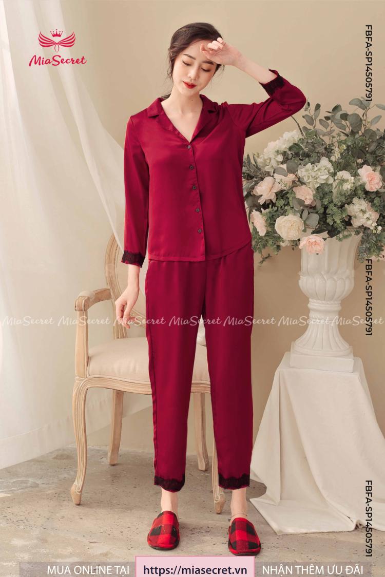 Pajama Đỏ Phối Ren