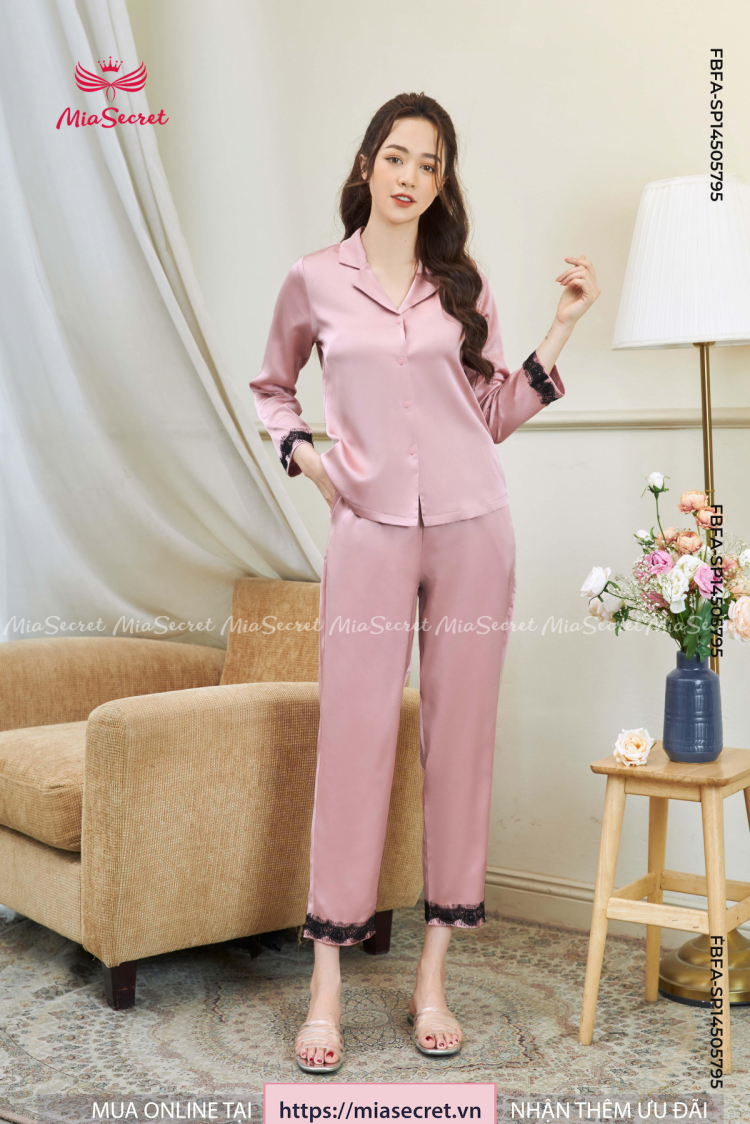 Pajama Hồng Phối Ren